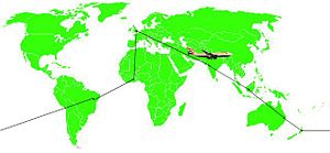 Round-the-world ticket - An example of travelling the world using a RTW ticket. Start in London, travel eastwards through India, Indonesia, Australia, New Zealand, Brazil, and Ghana back home, all using the same ticket with the same airline alliance.