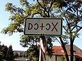Rovásírás scrip city limit sign, Bodony.jpg