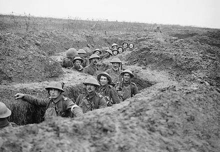 Soldiers of the Royal Inniskilling Fusiliers at the Battle of Cambrai in November 1917