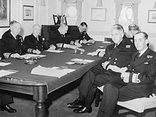 Royal Navy Admirals at conference on HMS Liverpool 1952 IWM A 32077.jpg