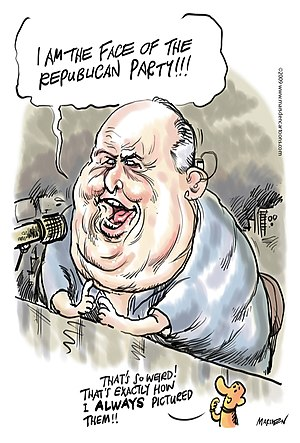300px Rush Limbaugh by Ian Marsden Rush Limbaugh: President Obama and Chris Christie Have Master Servant Relationship