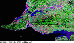 Ryongyon County - Ryongyŏn in NASA Landsat imagery