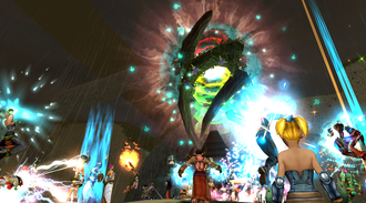 Massively multiplayer online role-playing game - Screenshot of an event in the MMORPG Ryzom, an open source and free content game (2014).