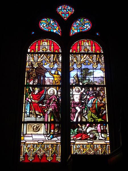 Saint Peter church of Sérent (Morbihan, France); Stained glass window: martyrdom of Saint Sebastian