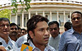 Sachin Tendulkar speaks to the media outside Parliament.jpg
