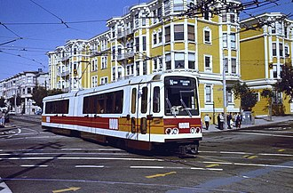 N Judah - A Boeing LRV newly in service on the N Judah, on Duboce Avenue, in March 1980