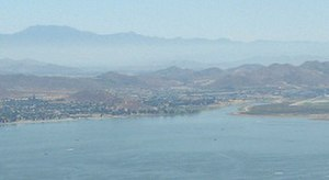San Jacinto River (California) - The mouth of the San Jacinto on Lake Elsinore, viewed from California State Route 74 (the Ortega Highway) on the southwest side of the lake