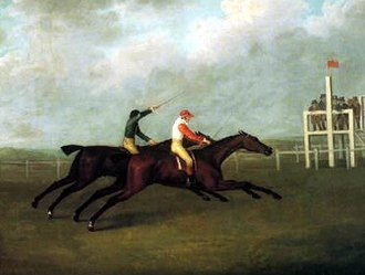Sancho (horse) - Sancho (foreground) defeats Hannibal in the 1,000 guinea match race at Brighton.