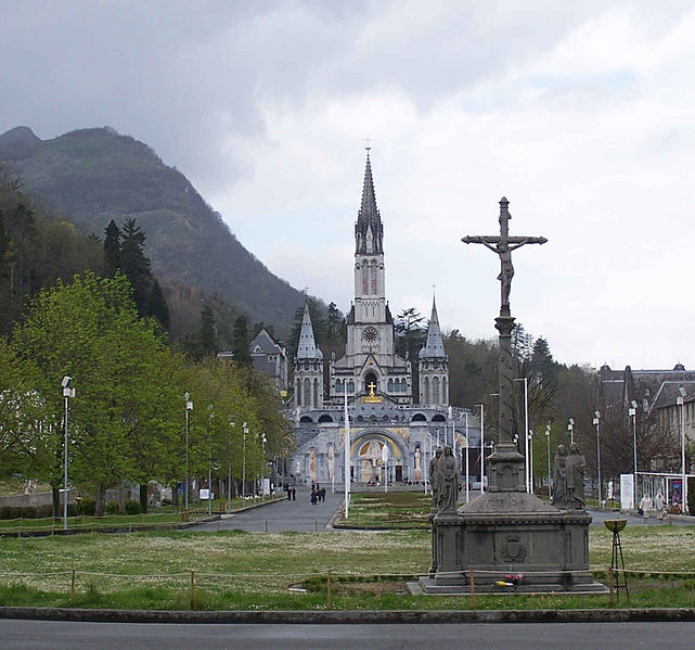 Sanctuary of Our Lady of Lourdes, taken from St. Michael's Gate, wiki