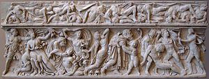 Niobids - Roman sarcophagus: Apollo and Artemis killing the 14 children of Niobe (front side). Artemis; 5 daughters with a nurse; younger son with a pedagogue; 3 other sons; Apollo. Top: dead Niobids. 160–170 CE.