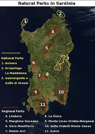 National and regional parks of Sardinia Sardinian natural parks.jpg
