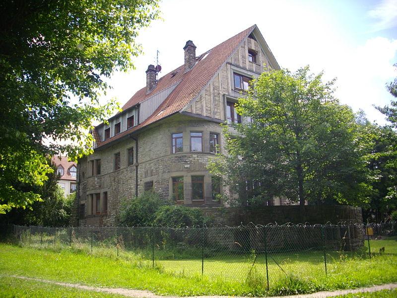 Villa Weiherstein, 31 Gambetta street in Sarrebourg (Moselle, France), seen from Weiherstien park.