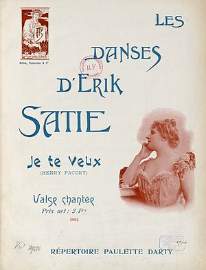 "Je te veux - Cover of the original 1903 sheet music for ""Je te veux"""