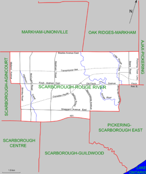 Scarborough—Rouge River (provincial electoral district) - Map of Scarborough-Rouge River