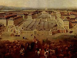 "Pierre Denis MARTIN ""View of the château de Versailles as seen from the Place d'Armes, 1722."" This was how Versailles looked at the end of Louis XIV's fourth building campaign."