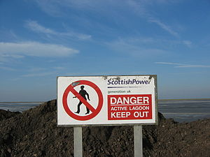 Levenhall Links - Image: Scottish Power Warning