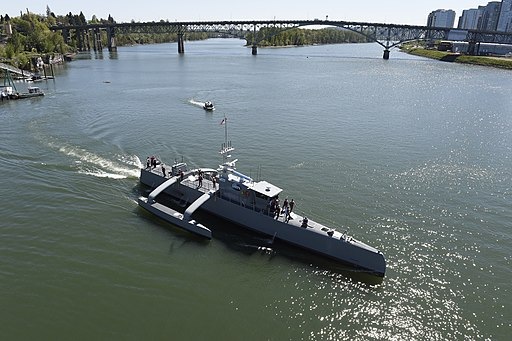 Sea Hunter gets underway on the Willamette River following a christening ceremony in Portland, Ore. (25702146834)