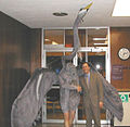 Seattle City Council member Peter Steinbrueck with man in heron costume, 2003.jpg