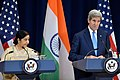 Secretary Kerry and Indian Minister of External Affairs Swaraj Address Reporters at the U.S.-India Strategic and Commercial Dialogue Joint Press Conference (21444435279).jpg