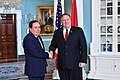 Secretary Pompeo shakes hands with Tunisian Foreign Minister Khemaies Jhinaoui (41867090100).jpg