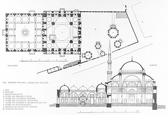 Şehzade Mosque - Cross section and plan by Cornelius Gurlitt, 1912