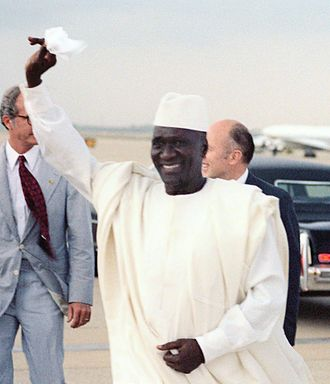 Ahmed Sékou Touré - President Ahmed Sékou Touré of the Republic of Guinea arrives at Andrews<br />Air Force Base in Maryland during a visit to Washington, D.C. (June 1982)