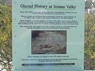 Alfred Richard Cecil Selwyn - In 1859 Selwyn discovered a glacial pavement at Inman Valley, later dated to the Permian