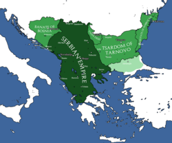The Serbian Empire in the 14th century.