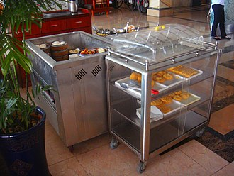 Serving cart - Serving carts with dim sum and breakfast pastries