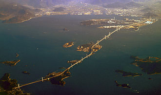 Great Seto Bridge - Great Seto Bridge from Honshū (left) via the islands of Hitsuishijima and Yoshima to Shikoku