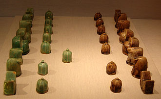 Muslim world - A Seljuq, shatranj (chess) set, glazed fritware, 12th century.