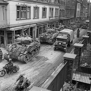 Battle of Remagen - British tanks moving through the German city of Kevelaer on 4 March 1945