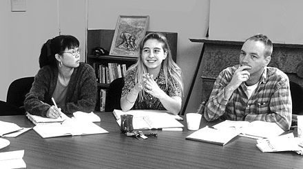 Shimer College students discussing texts in the school's core curriculum. Shimer IS 5 fall 1994 Sappho Bible.jpg