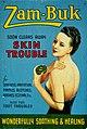 """Showcard advertising """"Zam-Buk soon clears away skin trouble"""". Wellcome L0030507.jpg"""