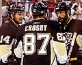 Sidney Crosby with Bill Guerin and Chris Kunitz 2009-06-06.JPG