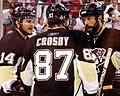 Sidney Crosby with Bill Guerin and Chris Kunitz 2009-06-06.JPG