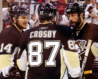Sidney Crosby - Crosby (centre) with Chris Kunitz and Bill Guerin, 2009 Stanley Cup Finals Game 6