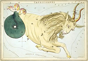 Capricornus - Capricornus as a sea-goat from Urania's Mirror (1825).