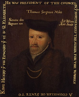 Thomas Gargrave - Sir Thomas Gargrave, oil on panel, unknown artist, 1570. Gift to National Portrait Gallery, London, by Gery Milner-Gibson-Cullum