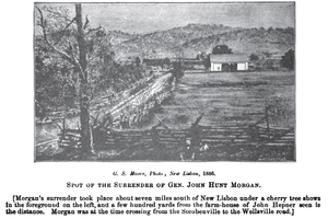 John H. Morgan Surrender Site - Site of Morgan's surrender, sketched by Henry Howe from an 1886 photograph