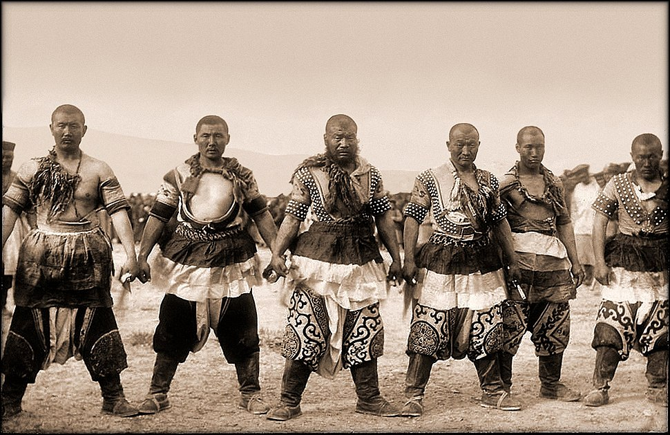 Six Strongmen In Traditional Dress, China
