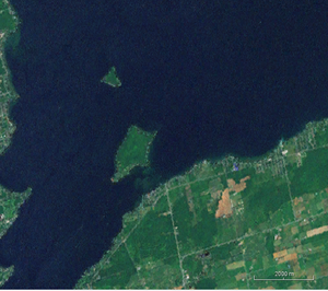 Snake Island (Lake Simcoe) - Snake Island (the larger of the two islands seen) in Lake Simcoe