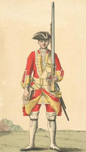 30th (Cambridgeshire) Regiment of Foot - Soldier of the 30th Foot in 1742