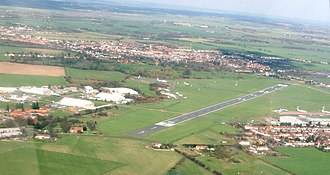 London Southend Airport - Aerial view looking north-east, prior to the construction of the runway extension.