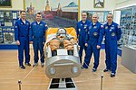 Soyuz MS-08 crew and backup crew in the Korolev Museum.jpg