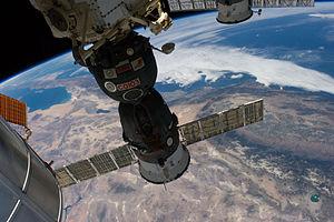 Soyuz TMA-13M - Soyuz TMA-13M docked to the ISS, flying above California and Nevada.