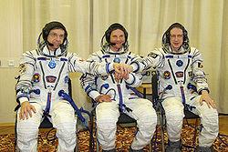 v.l.n.r.: Robert Thirsk, Roman Romanenko, Frank De Winne