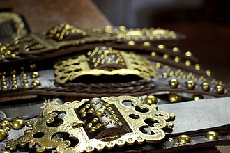 Buckle - Ornate brass belt buckles, Slovakia