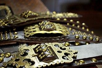 Buckle - Ornate brass belt buckles, Slovakia