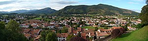 Saint-Jean-Pied-de-Port - A panorama view of St Jean as seen from the Citadelle in 2010.